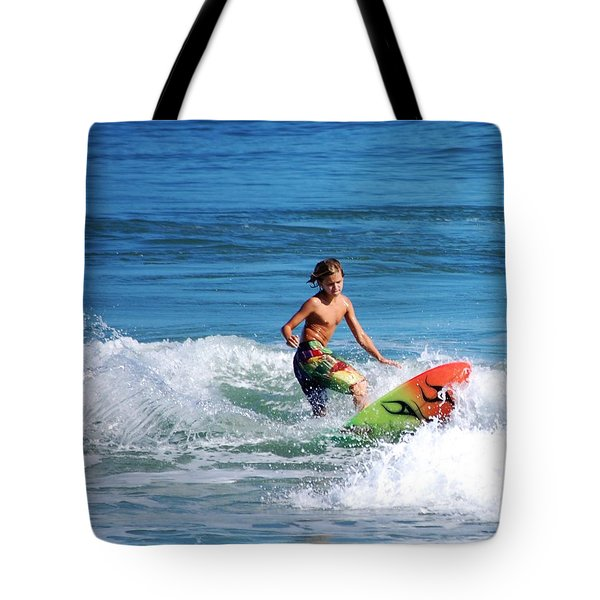 Playing In The Surf Tote Bag by David Lane