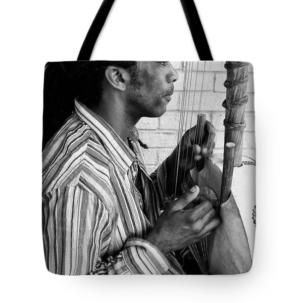 Playing The Koro - Black And White Tote Bag by Kathleen K Parker