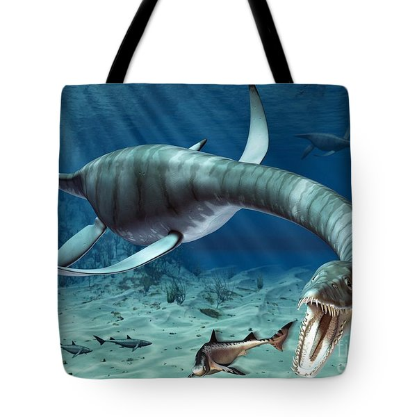 Plesiosaur Attack Tote Bag by Roger Harris and Photo Researchers