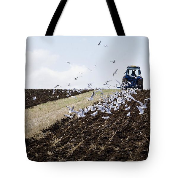 Ploughing With Seagulls, Co Down Tote Bag by The Irish Image Collection