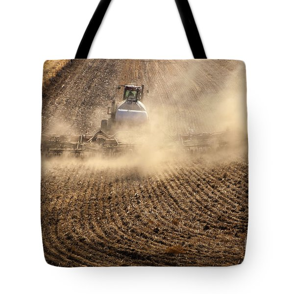 Plowing The Ground Tote Bag by Mike  Dawson