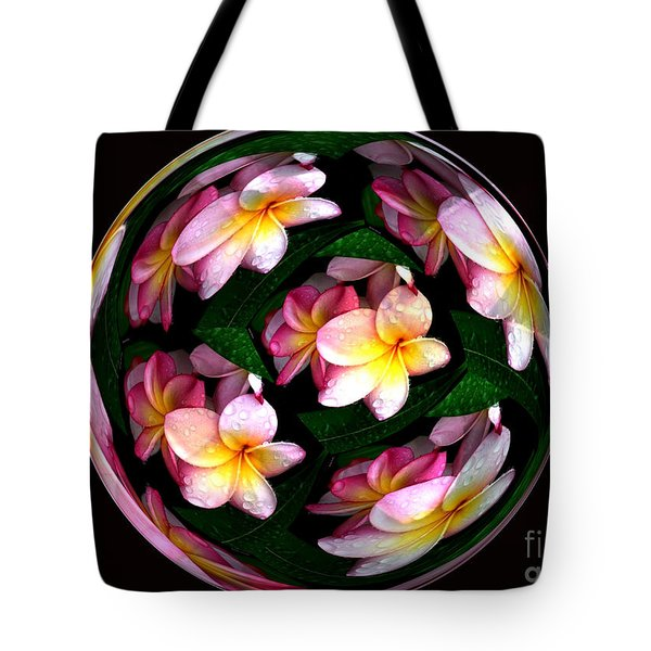 Plumeria Tile Ball Tote Bag by Cheryl Young