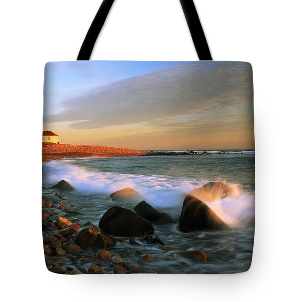 Point Judith Lighthouse Seascape Tote Bag by Roupen  Baker