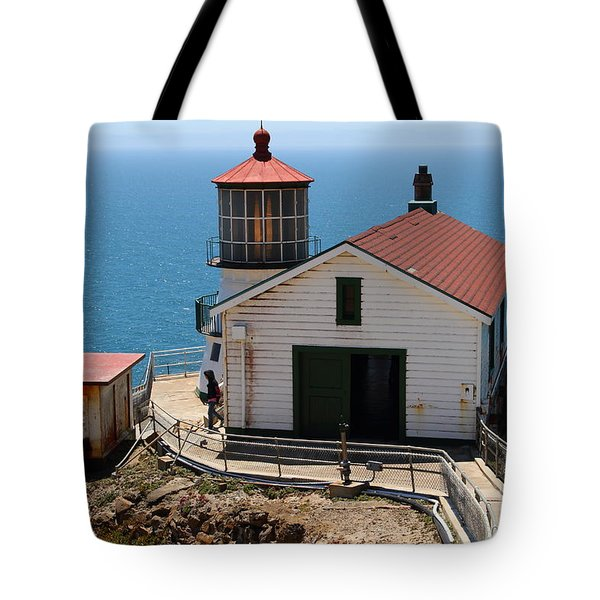 Point Reyes Lighthouse In California 7d15997 Tote Bag by Wingsdomain Art and Photography