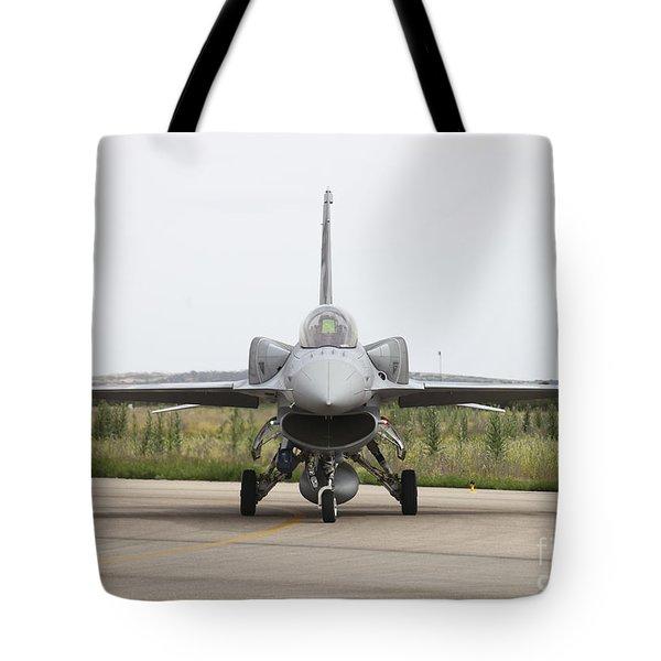 Polish F-16c Block 52 At Albacete Tote Bag by Timm Ziegenthaler