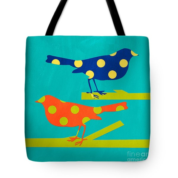 Polka Dot Birds Tote Bag by Linda Woods