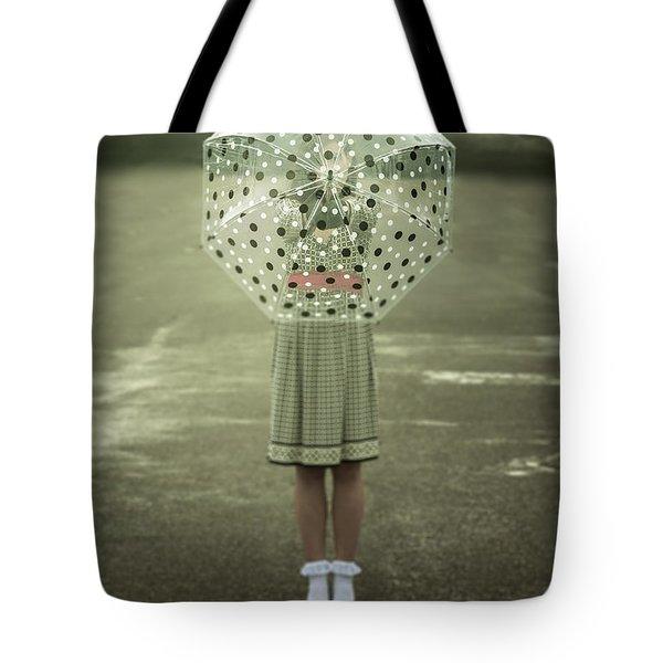 polka dotted umbrella Tote Bag by Joana Kruse