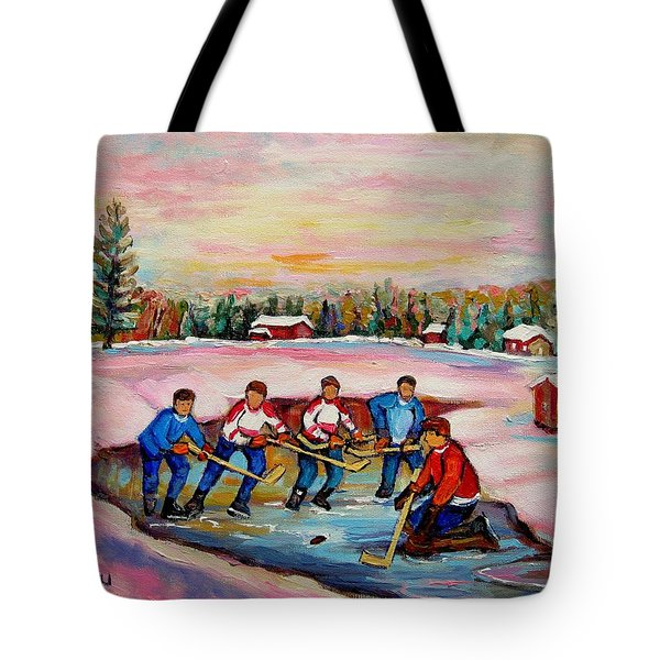 Pond Hockey Warm Day Tote Bag by Carole Spandau