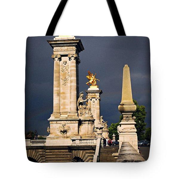 Pont Alexander III in Paris before storm Tote Bag by Elena Elisseeva