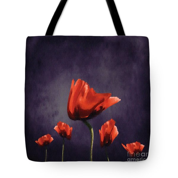 Poppies Fun 02b Tote Bag by Variance Collections
