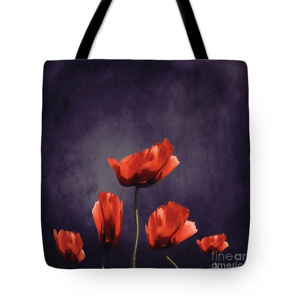 Poppies Fun 03b Tote Bag by Variance Collections