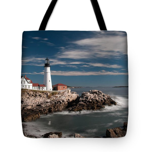 Portland Head Light 19482c Tote Bag by Guy Whiteley