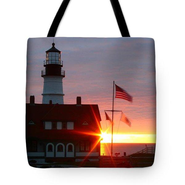 Portland Head Light At Sunrise Tote Bag by Rick  Blood
