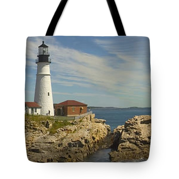 Portland Head Light Panorama  Tote Bag by Mike McGlothlen
