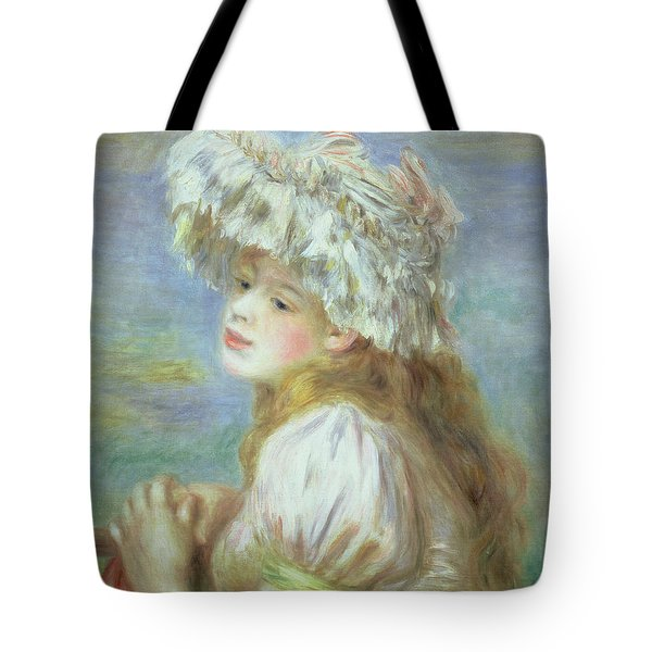 Portrait Of A Young Woman In A Lace Hat Tote Bag by Pierre Auguste  Renoir