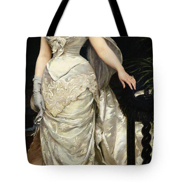 Portrait Of Mademoiselle X Tote Bag by Charles Emile Auguste Carolus Duran