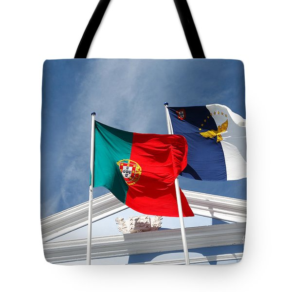 Portugal And Azores Flags Tote Bag by Gaspar Avila