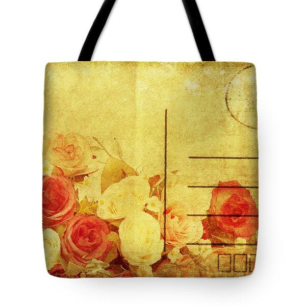 Postcard With Floral Pattern Tote Bag by Setsiri Silapasuwanchai