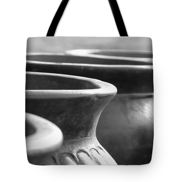 Pots In Black And White Tote Bag by Kathy Clark