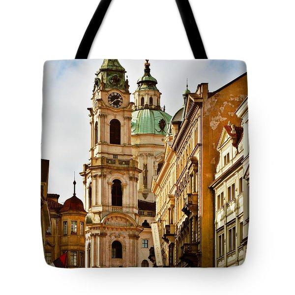 Prague - St. Nicholas Church Lesser Town Tote Bag by Christine Till