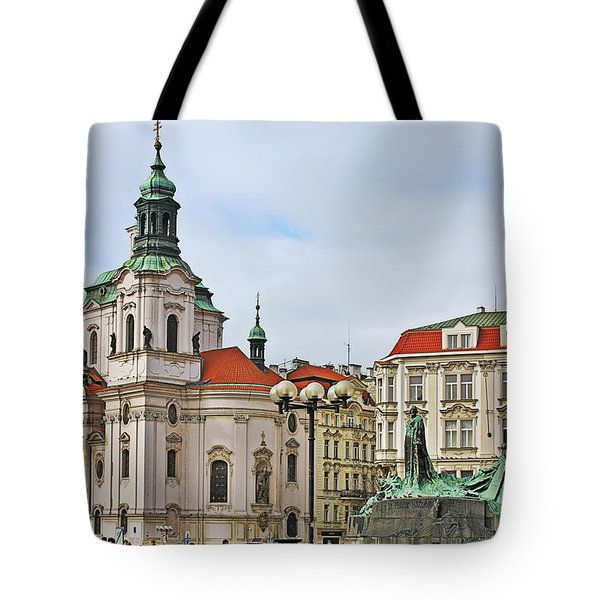 Prague - St Nicholas Church Old Town Square Tote Bag by Christine Till