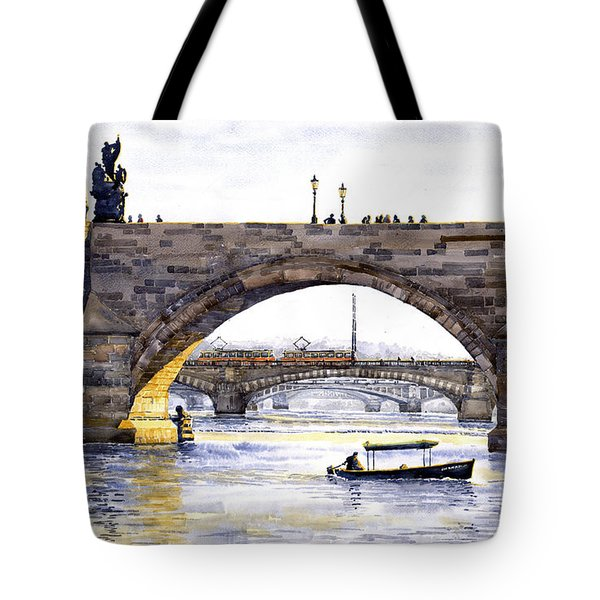 Prague Bridges Tote Bag by Yuriy  Shevchuk