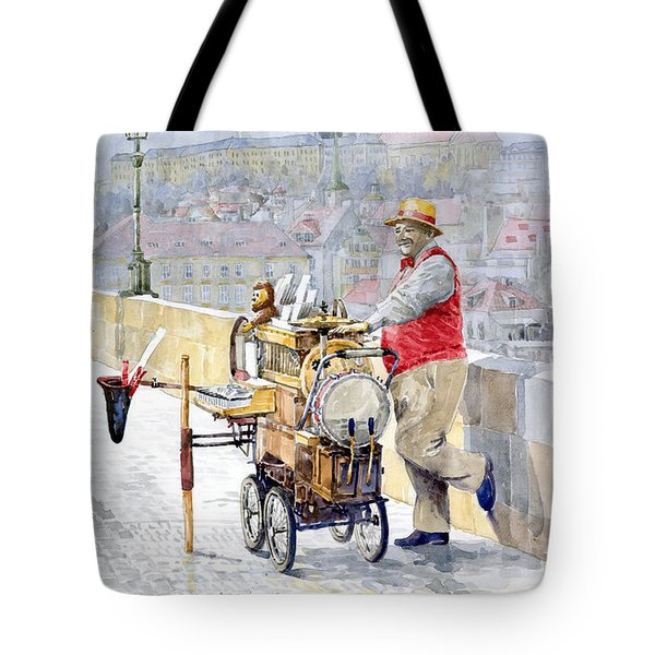Prague Charles Bridge Organ Grinder-Seller Happiness  Tote Bag by Yuriy  Shevchuk
