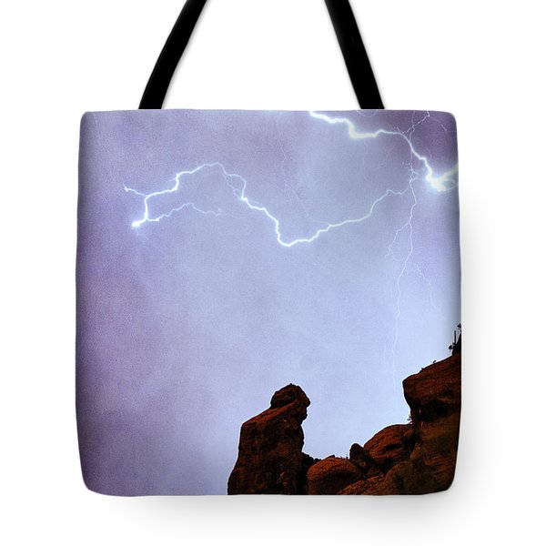 Praying Monk Camelback Mountain Paradise Valley Lightning  Storm Tote Bag by James BO  Insogna