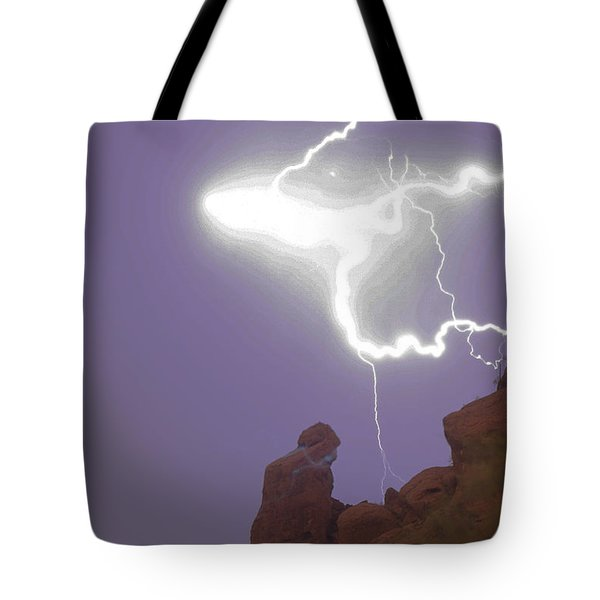 Praying Monk Lightning Halo Monsoon Thunderstorm Photography Tote Bag by James BO  Insogna
