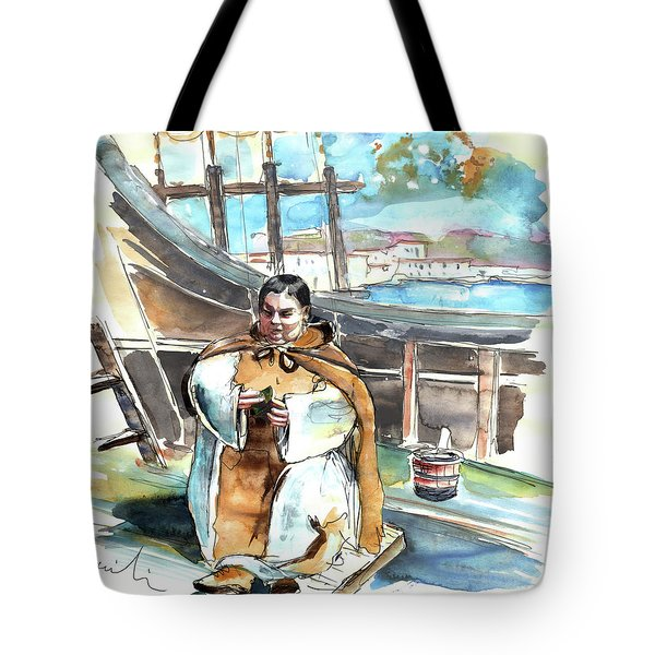 Preaching The Bible On The Conquistadores Boat In Vila Do Conde In Portugal Tote Bag by Miki De Goodaboom
