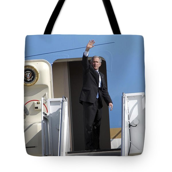 President George Bush Waves Good-bye Tote Bag by Stocktrek Images