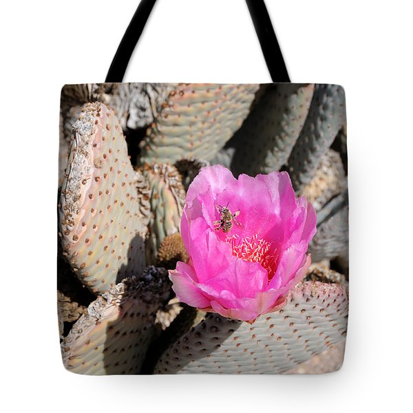 Prickly Pear Cactus Fertilized By Honey Bee Tote Bag by Gary Whitton