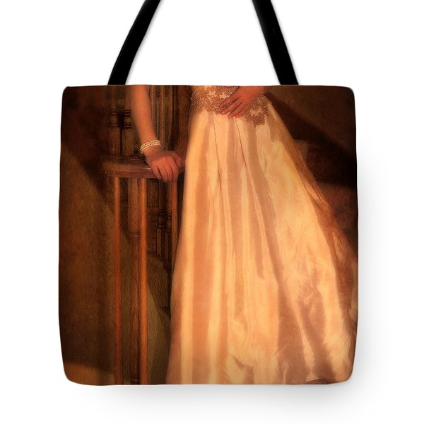 Princess On Stairway Tote Bag by Jill Battaglia