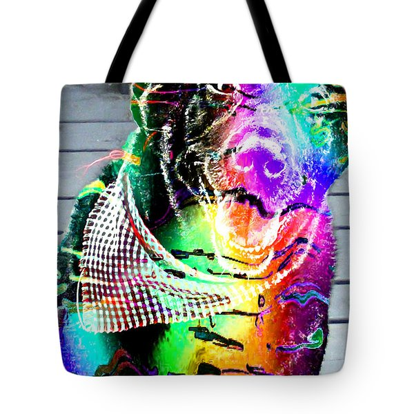 Psychedelic Black Lab With Kerchief Tote Bag by Barbara Griffin