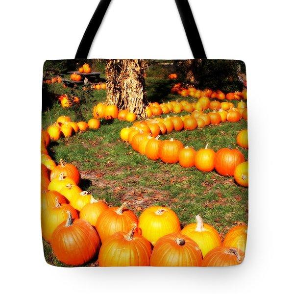 Pumpkin Patch Path Tote Bag by Carol Groenen