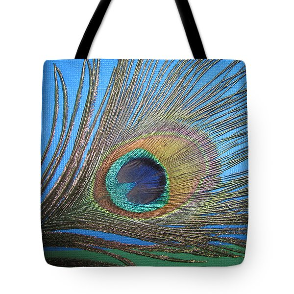 Purdy As A Peacock Tote Bag by Kathy Clark