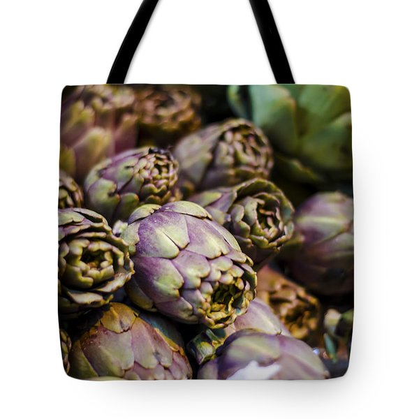 Purple Artichokes At The Market Tote Bag by Heather Applegate