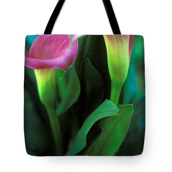 Purple Calla Duet Tote Bag by Kathy Yates