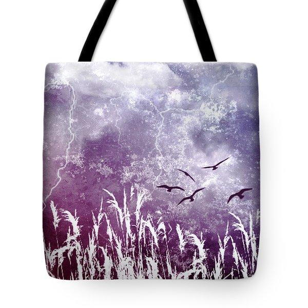 Purple Skies Tote Bag by Ellen Heaverlo