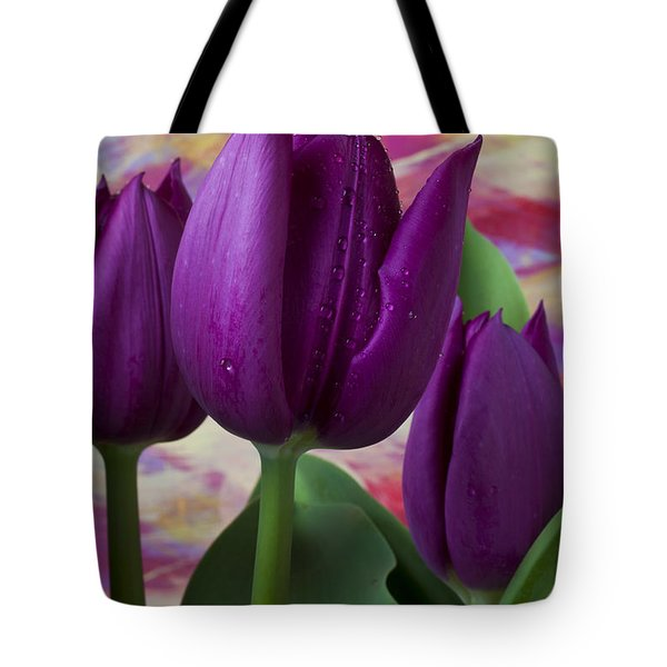Purple Tulips Tote Bag by Garry Gay