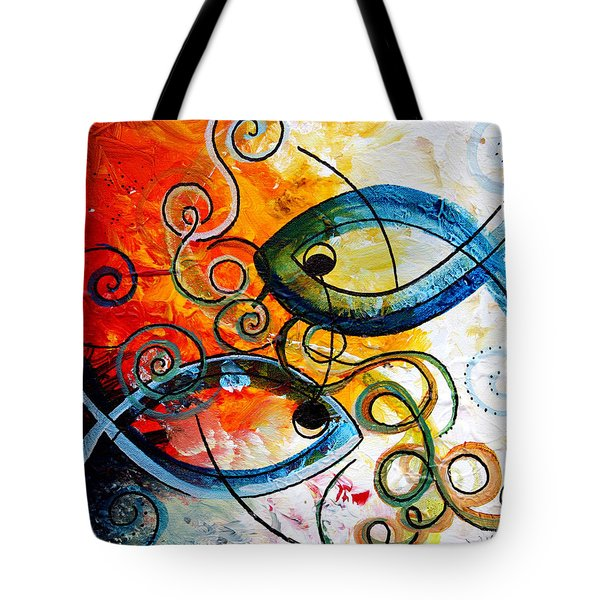 Purposeful Ichthus By Two Tote Bag by J Vincent Scarpace