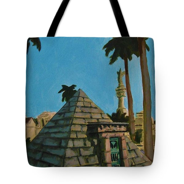 Pyramid Tomb In Cemetary Tote Bag by John Malone