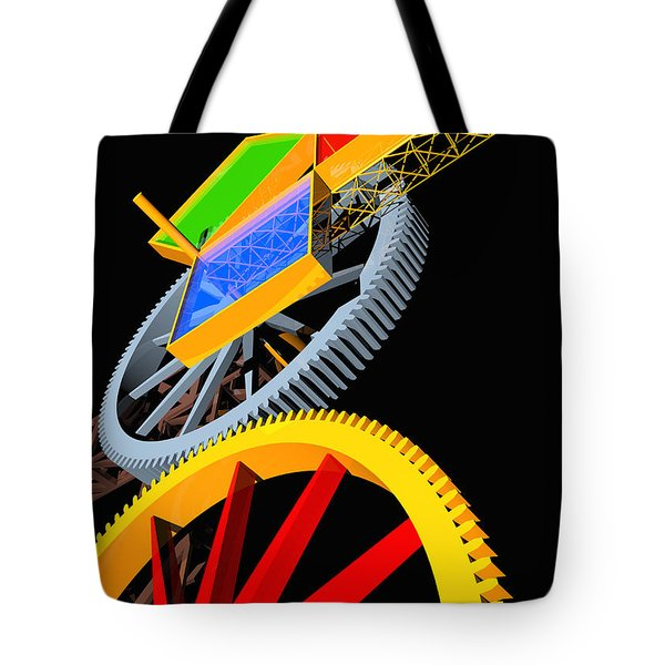 Pythagorean Machine Portrait 5 Tote Bag by Russell Kightley