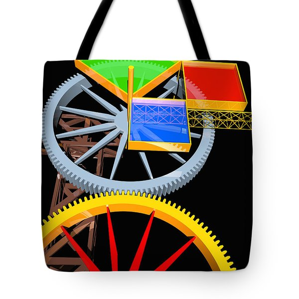 Pythagorean Machine Portrait 7 Tote Bag by Russell Kightley