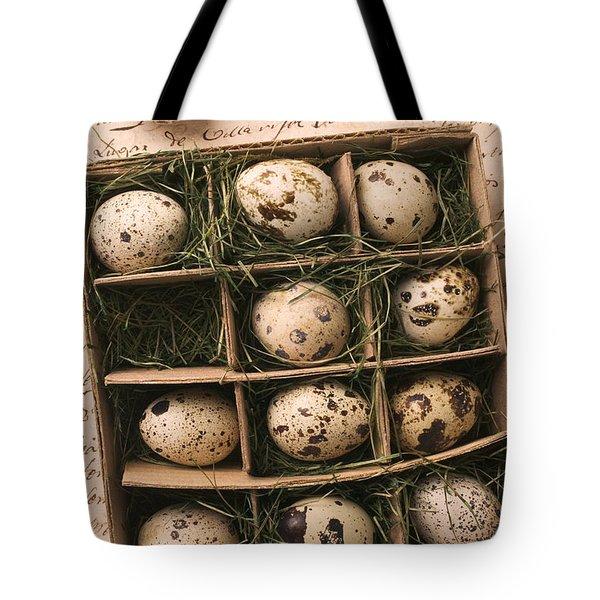 Quail Eggs In Box Tote Bag by Garry Gay