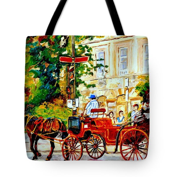 Quebec City Street Scene The Red Caleche Tote Bag by Carole Spandau