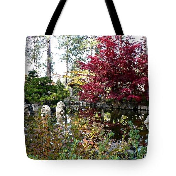 Quiet Autumn Pond Tote Bag by Carol Groenen