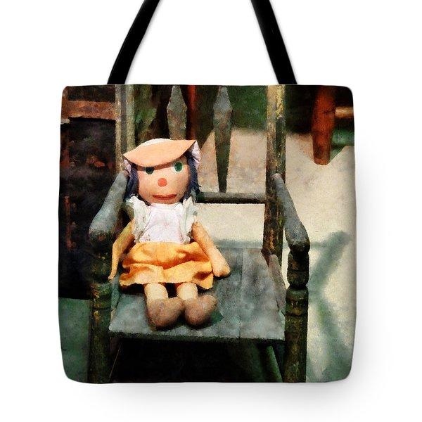 Rag Doll In Chair Tote Bag by Susan Savad