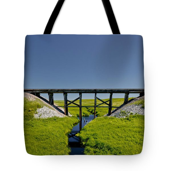 Railroad Trestle Tote Bag by Roderick Bley
