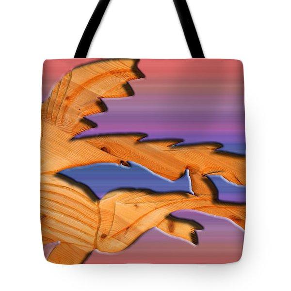 rainbow dinosaur fish Tote Bag by Robert Margetts